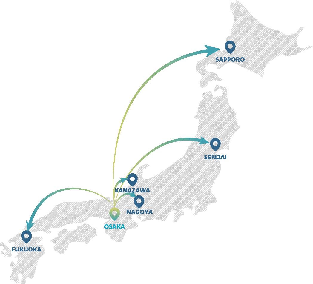 大阪を中心に、地方拠点の規模は順調に拡大