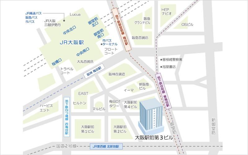 株式会社ファインズ 大阪営業所 位置